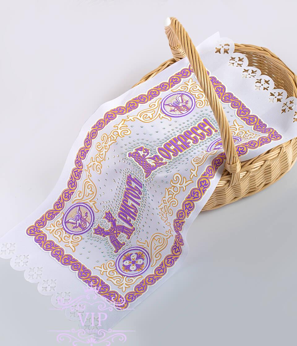 Фиолетовая с иконой со стразами пасхальная салфетка