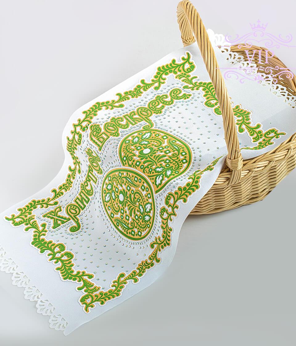 Зеленая с яйцами со стразами пасхальная салфетка