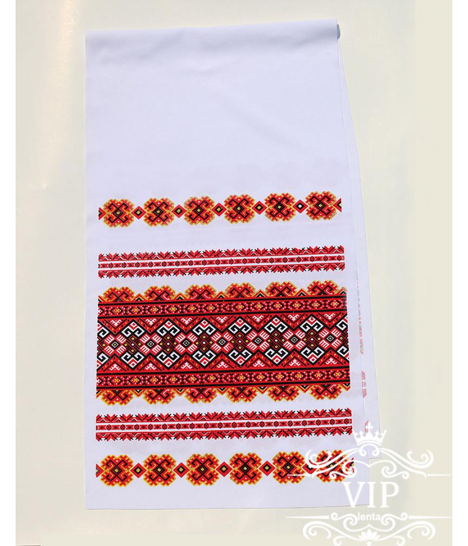 Печатный рушник орнамент красный
