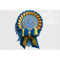 Значок для детского сада желто-голубой с бантиком
