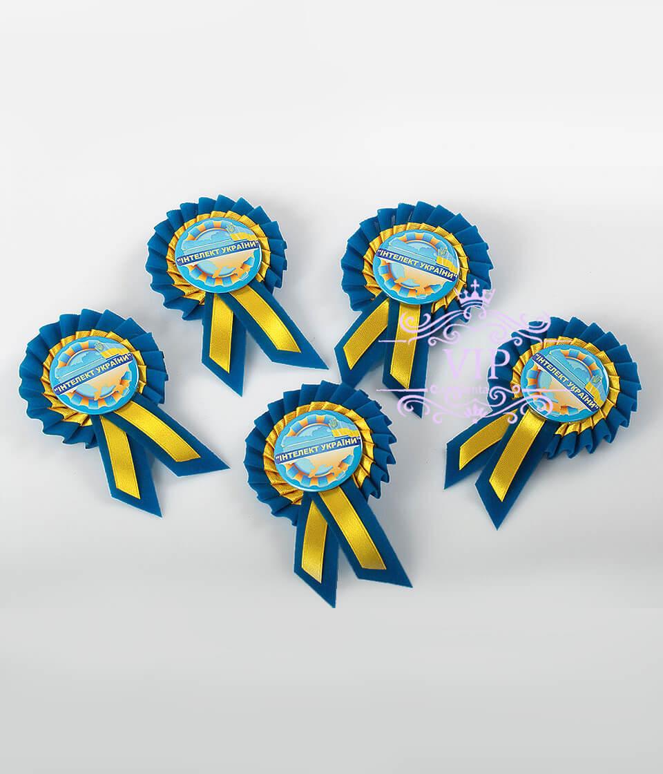 Значок индивидуальный желтый с голубым